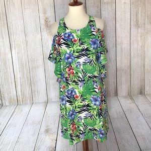 Tropical inspired printed cold shoulder dress